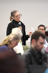 Deborah Miles speaks during a public meeting with the independent monitor of HCA, Gibbins Advisors, at MAHEC on Feb. 10, 2020.