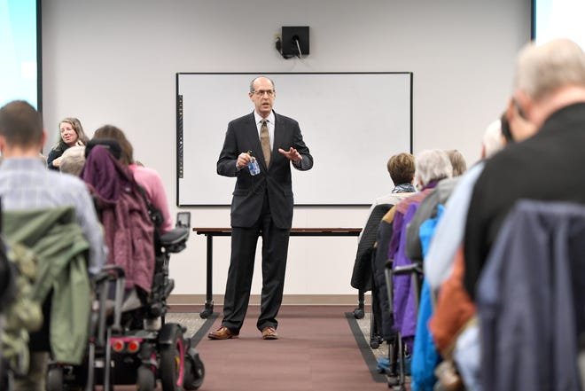 Gibbins Advisors, the independent monitor of HCA, held a public meeting about Mission Hospital at MAHEC on Feb. 10, 2020. Two years after the sale, Gibbins continues to keep tabs on whether HCA is keeping to its commitments.