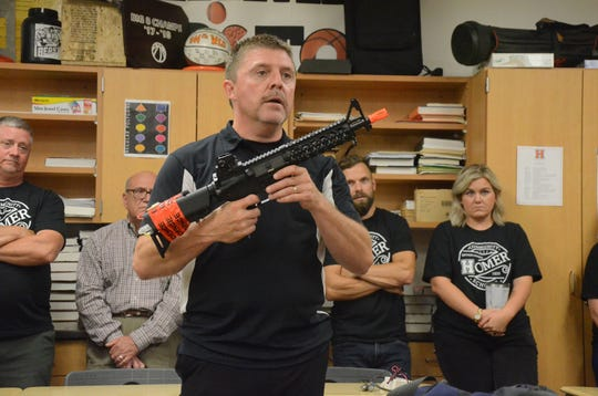 Calhoun County Sheriff Department Detective Sgt. Steve Hinkley conducts active shooter training last year at  Homer Schools.