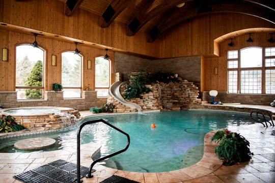 An indoor waterpark inside a mansion is pictured on Monday, Feb. 10, 2020 in Union City, Mich. This $3.9 million home is for sale and located on Union Lake.