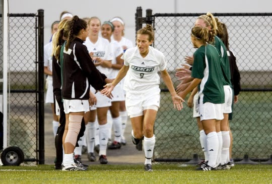 Stephanie Knopick, a Maine-Endwell graduate, heads onto the field before the first match at the Bearcats Sports Complex at Binghamton University on Sept. 18, 2007. The Bearcats lost, 2-1, in overtime.