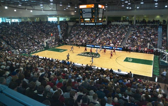 A full house watches Binghamton University's men's basketball team take on Hartford in the first game at the Events Center at BU on Jan. 31, 2004.