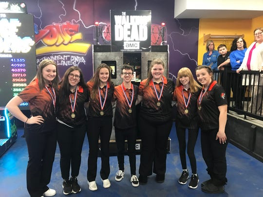 Union-Endicott bowlers are all smiles after netting a STAC Championship-best 2,927 pinfall Monday at Midway Lanes.