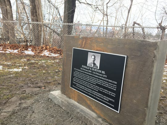 A memorial for Donald Burton Sr., a Binghamton Parks employee who died Feb. 11, 1970, after his sweeping machine fell through the Exchange Street bridge into the Susquehanna River.