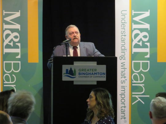 Gary Keith, M&T Bank regional economist, talks about Binghamton region economic climate at a Greater Binghamton Chamber of Commerce economic forecast breakfast Feb. 11, 2020