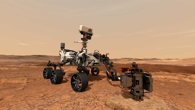 Artist rendering of NASA's Mars 2020 rover on the surface of Mars.