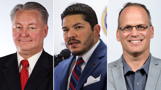 Candidates for Nueces County District Attorney, Republican James O. Gardner, from left, Democratic incumbent Mark Gonzalez, and Republican Jon West.