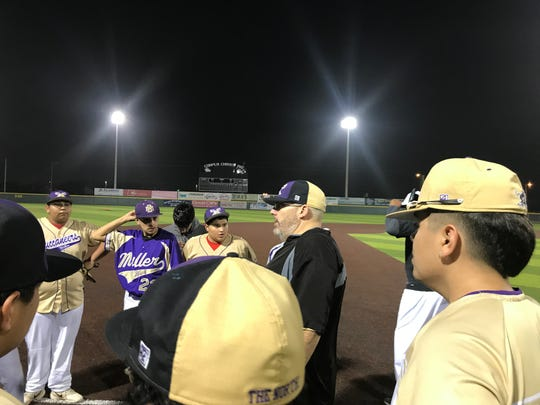 First year Miller baseball coach Wade McDaniel talks to the team before a practice on Monday, Feb. 10, 2020 at Cabaniss Baseball Field.