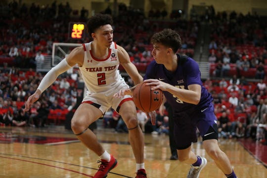 Feb 10, 2020; Lubbock, Texas, USA;  Texas Christian Horned Frogs guard Francisco Farabello (3) looks for an opening against Texas Tech Red Raiders guard Clarence Nadolny (2) in the second half at United Supermarkets Arena. Mandatory Credit: Michael C. Johnson-USA TODAY Sports