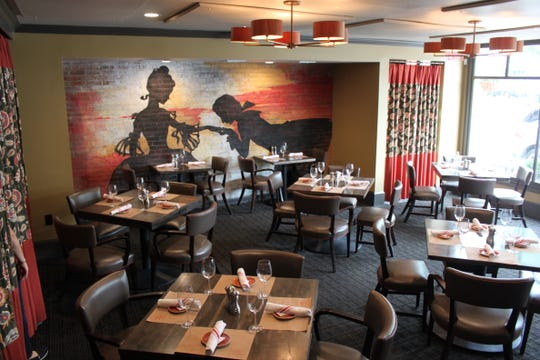 Colonial silhouette art adorns the dining room of George & Martha's American Grille in Morristown. The restaurant is named after President George Washington and his first lady, Martha.