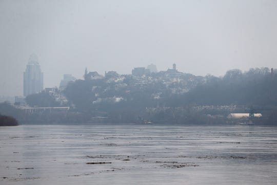 View of downtown Cincinnati and the Ohio River from the East End Tuesday in Cincinnati. The river was at 44.94 feet as of Tuesday morning and is forecasted to approach flood stage by Saturday morning, according to the National Weather Service's Advanced Hydrologic Prediction Service.