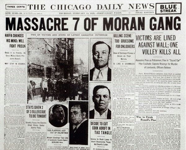 The Chicago Daily News reports on the St. Valentine's Day Massacre in 1929.