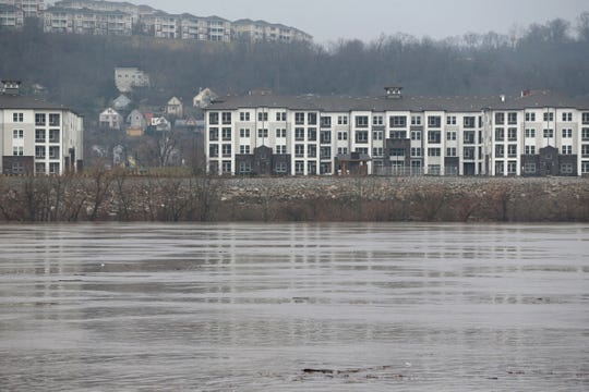 View of Kentucky and the Ohio River from the East End, Tuesday, Feb. 11, 2020, in Cincinnati. The river is at 44.94 feet of Tuesday morning. The river is forecasted to approach flood stage by Saturday morning, according to t he National Weather Service's Advanced Hydrologic Prediction Service.