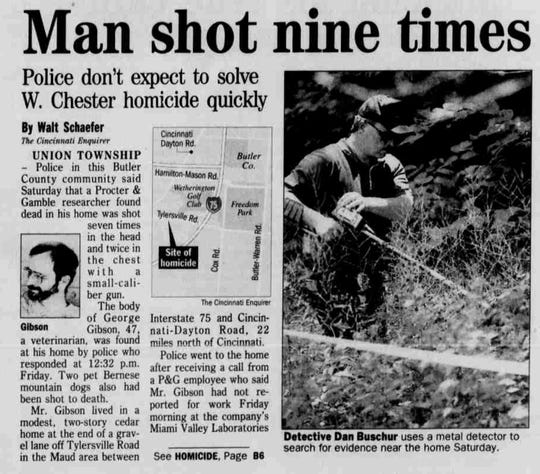 A Cincinnati Enquirer article from June 25, 2000, on the death of George Gibson.