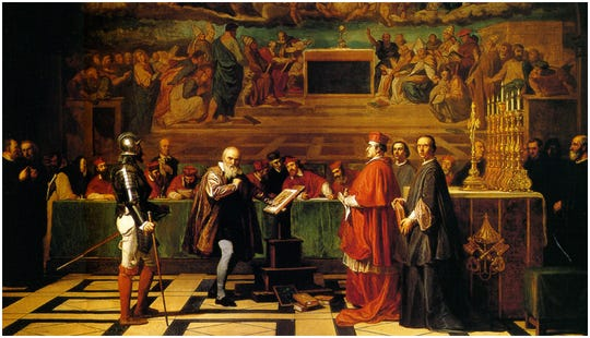 Astronomer Galileo Galilei on trial before the Inquisition in 1633.