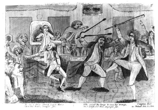 A political cartoon depicts the Lyon-Griswold brawl in the U.S. House of Representatives.