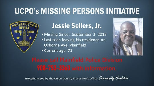 The Union County Prosecutor's Office Missing Persons Initiative this week features Plainfield resident Jessie Sellers Jr.