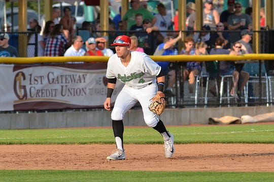 Clinton infielder Zach Scott gets ready to make a play during a Clinton LumberKings game in 2019.