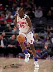 Detroit Pistons forward Sekou Doumbouya brings the ball up court against the Charlotte Hornets, Feb. 10, 2020 at Little Caesars Arena.