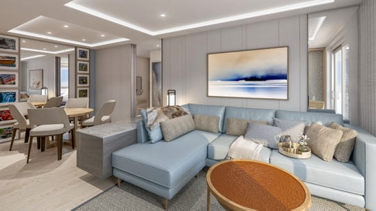 A rendering of Explorer Suite living room on-board the Viking Expedition ships Polaris and Octantis.