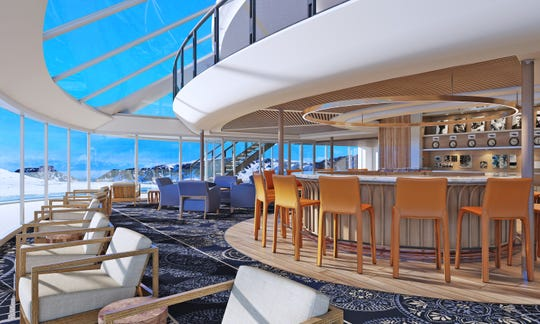 A rendering of the Explorer's Lounge on-board the Viking Octantis.