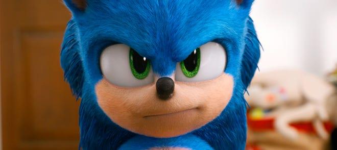 "Sonic (voiced by Ben Schwartz) in ""Sonic the Hedgehog."""