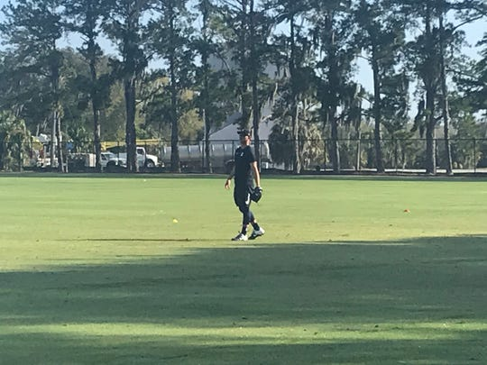 Detroit Tigers pitching prospect Franklin Perez works out in the field on Tuesday, Feb. 11, 2020, in Lakeland, Florida.