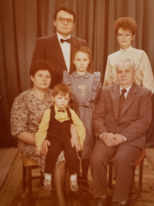 Free Press Restaurant Critic Mark Kurlyandchik sits on his grandmother Valentina Rinkoun's lap in this family photo from 1989, taken in Vilnius, the capital city of what was then the Lithuanian Soviet Socialist Republic.