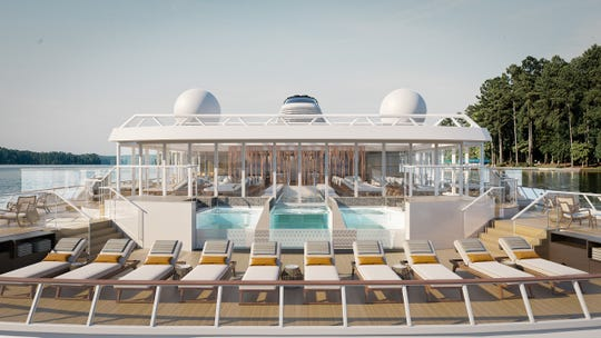 A rendering of the Aquavit Terrace and Infinity Pool on-board a Viking Expedition ship.