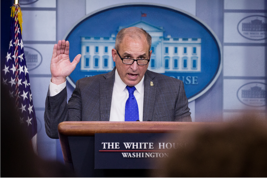 FILE - In this Nov. 14, 2019, file photo, Acting U.S. Customs and Border Protection director Mark Morgan speaks with reporters in the briefing room at the White House in Washington.