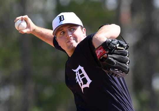 Tigers pitching prospect Casey Mize, shown here last spring, tossed 109.1 innings last season, reaching Double-A Erie.