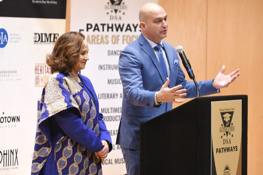 Dr. Lisa Reynolds, principal of the Detroit School of Arts, and DPSCD superintendent Nikolai Vitti announce an expanded arts and music partnership on Tuesday.