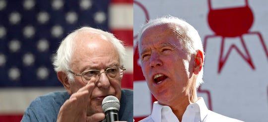 Democratic candidates Bernie Sanders, left, and Joe Biden.