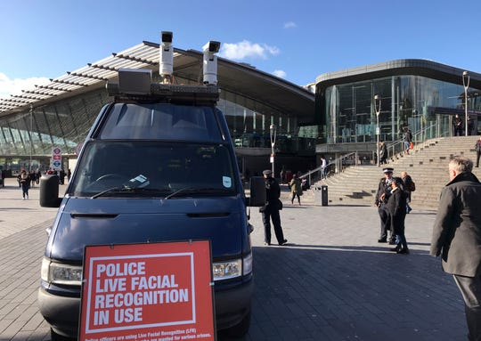 A mobile police facial recognition facility outside a shopping centre in London Tuesday.