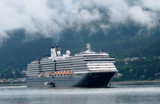 In this Aug. 29, 2011 file photo, the Holland America Westerdam, is shown in Juneau, Alaska. Because of unfounded fears of the deadly coronavirus, the cruise ship operated by Carnival Corp.'s Holland America Line could be forced to wait until it's in distress – running out of water, food or fuel – before international law-of-the-sea conventions kick in and legally obligate the closest country to admit the vessel or provide help, according to maritime experts.