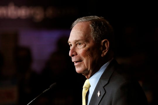 Democratic presidential candidate and former New York City Mayor Michael Bloomberg talks to supporters in Detroit on Feb. 4.