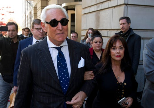 Roger Stone, left, with wife Nydia Stone