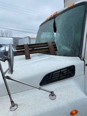 Johnnie Lowe was back on the road Monday after this steel beam flew through the windshield of the truck he was driving Feb. 6, 2020 on I-96 in Williamston.