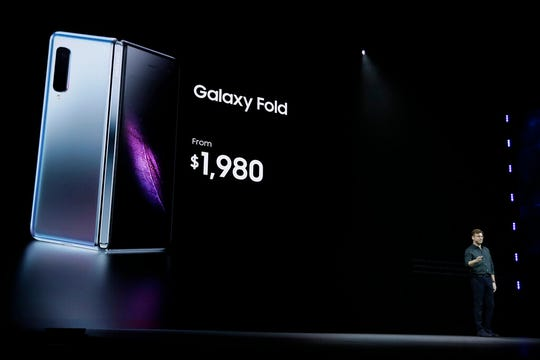 Justin Denison, SVP of Mobile Product Development, talks about the new Samsung Galaxy Fold smartphone during an event Wednesday, Feb. 20, 2019, in San Francisco.