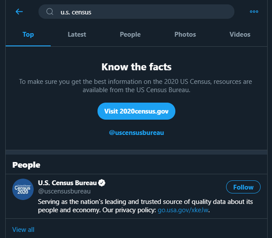 "A search on Twitter for ""U.S. Census."""