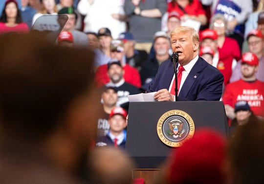 President Donald Trump speaks during a campaign rally, Monday, Feb. 10, 2020, in Manchester, N.H.