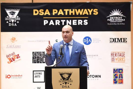Nikolai Vitti, Superintendent, Detroit Public Schools Community District, announces an expanded arts and music partnership on Tuesday, February 11, 2020 with 24 arts organizations to develop a Pathways Initiative.