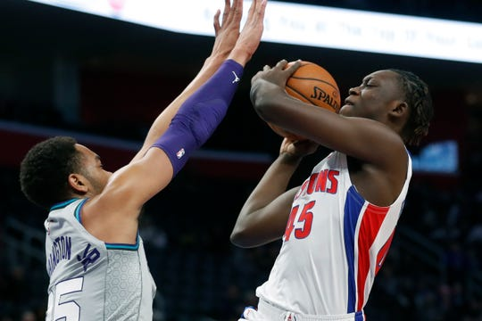 Pistons forward Sekou Doumbouya (45) is averaging 6.9 points in 28 games as a rookie.