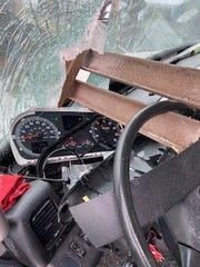 The steering wheel of the truck Johnnie Lowe was driving on Interstate 96 in Williamston near Lansing on Feb. 6, 2020, stopped the steel beam that flew through the windshield from impaling him.