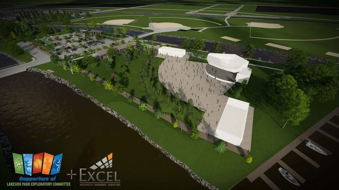 The Supporters of the Lakeside Park Exploratory Committee plan proposes building an Oven Island amphitheater, which would seat 4,000 to 5,000 people.
