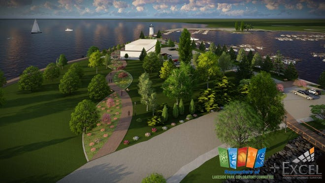 According to the Supporters of Lakeside Park Exploratory Committee plan, only the south side of the lighthouse peninsula would have a road with a turnaround in front of the light house, while the north side pavement would be converted into green space.