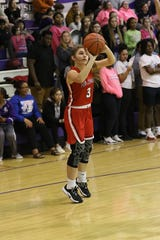 Port Clinton's Claudia Gillum shoots a jump shot.