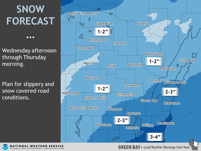 One to three inches of snow is expected to hit areas of Wisconsin Wednesday afternoon.