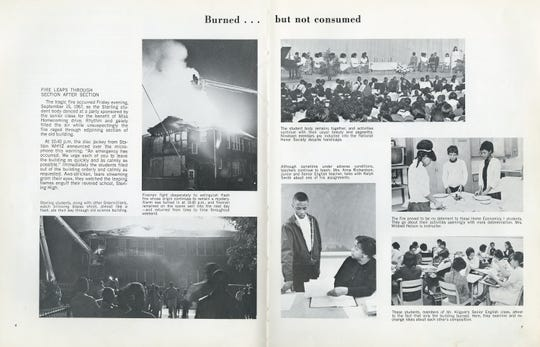 The Sterling High School fire is shown in this scanned excerpt from a Sterling yearbook.