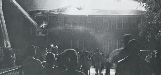 The Sterling High School fire is shown in this provided photo from a Sterling yearbook.